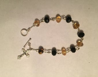 "Black and Gold Rosary Bracelet, approximately 7 1/2"" Long."