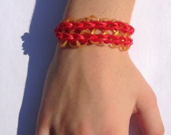 Red and gold Rainbow Loom infinity bracelet