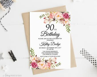 90th Birthday Invitation, Floral Women Birthday Invitation, Any Age Women Birthday Invite, PERSONALIZED, Digital file, #W02