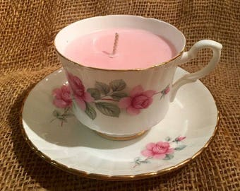 Soy Wax, Teacup Candle!  Rose scented