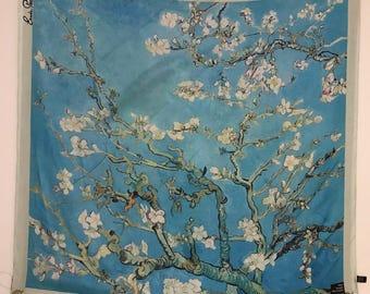 Van Gogh Flower Blossom Print Silk Scarf