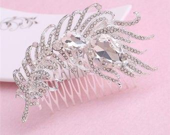 Rhinestone fur hair comb,Fur hair comb,Wedding hair accessories,Bridal hair comb,Vintage crystal hair comb,Bridesmaid