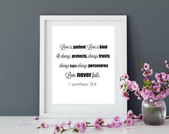 Scripture wall art, Love is patient love is kind, 1 Corinthians 13:4 printable bible verse, Christian wall art print, Instant download