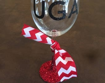 UGA Customized Wine Glass