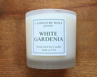 White Gardenia Soy Candle, 100% Soy, Floral, Spring, Gardenia, Handmade, Made in USA, Jar candle