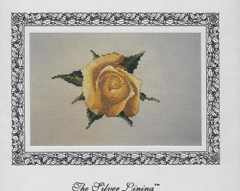 """SILVER LINING """"Sunsprite"""" Cross Stitch Pattern SL 124 - Single Yellow Rose, Realistic Designed by Marc Saastad - Never Used Pattern"""