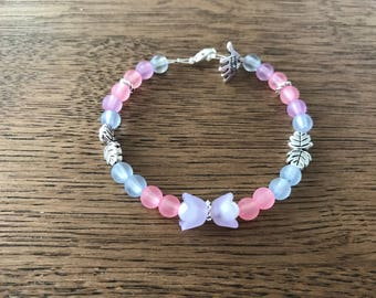 Floral Pink and Blue Beaded Bracelet