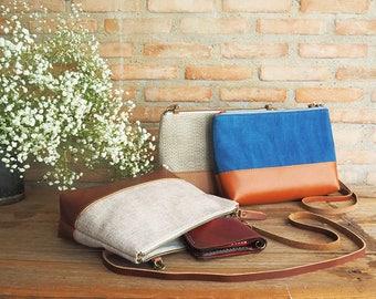 Handmade cotton shoulder bag, Cosmetics bag, Cross body bag
