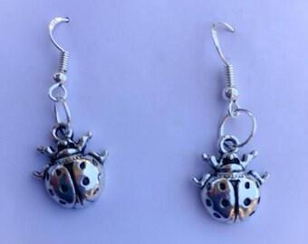 EARRINGS Lady Bug Beetle Insect Charm Tibetan Silver Handmade Jewellery Fashion