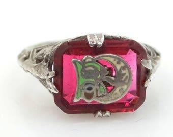 Art Deco Daughters of Rebekah Filigree Ring