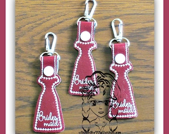 BRiDESMAID DReSS (Only) Bridal Party - Key FOB Key Ring Snap Tab ~ In The Hoop ~ Downloadable DiGiTaL Machine Embroidery Design by Carrie