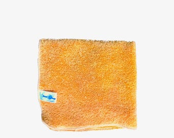 Color changing Plant dyed, Organic cotton washcloth in mandarin. Super plush, nurture with nature.