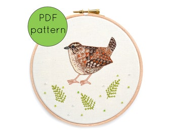 Hand Embroidery Pattern PDF Download, Wren, bird embroidery pattern
