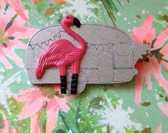 Flamingo Trailer Brooch - Pink Flamingo Brooch - Handmade Atomic Novelty Brooch - Tacky Kitsch Mid Century Modern - John Waters Divine