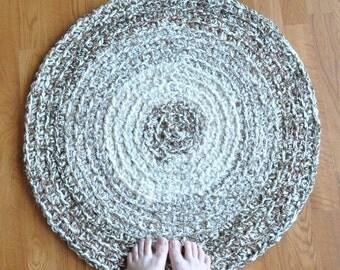 Brown Flecks Crochet Rug Round Mat for Bathroom Kitchen Nursery Bedroom