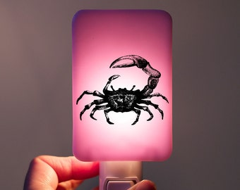 Fiddler Crab Nightlight on lilac pink Fused Glass Night Light - Gift for Baby Shower or Nature Lover - beach life cottage chic