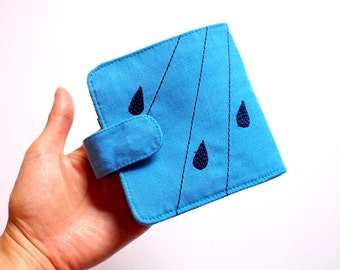 Bifold Billfold Fabric Wallet - Raindrops Wallet - SKY BLUE Fabric Wallet With Magnetic Button - Minimalist Wallet - Rain Clouds Design