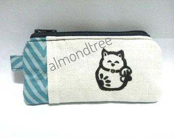 Cute Cat, maneki neko coin purse, portefeuille, women wallet, cardholder id173902s, stamp, hand painted, travel organizer