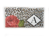 Personalized Checkbook cover - Red Roses and Leopard -  custom check book holder - animal print - red roses floral - monogram initial