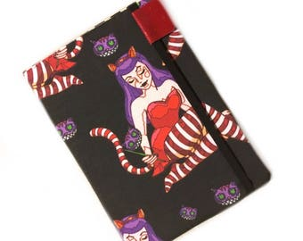 Kindle Voyage Cover - Cheshire Cat pinup girl - kindle case - eReader hardcover - Alice in wonderland - red and purple