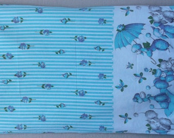 Vintage 50s Blue Floral French Poodle Pillow Case / King size shabby chic pillowcase cover from 1950s