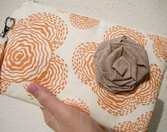 WEDDING CLUTCH 2 pockets,orange,cotton, makeup, medium, wristlet - - Floating buds orange