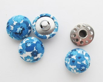 Floral Fabric Covered Half Round Buttons 7/8 Inch | Four blue floral print fabric buttons with a self shank back.