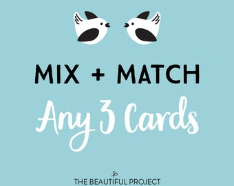 Mix and Match Any 3 Greeting Cards - Mix and Match Sale, Card Sale, Any Occasion Cards, Birthday Card, Holiday Card Sale, Thanks, Card Set