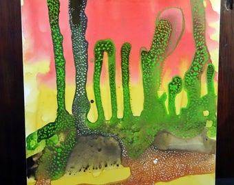 Watercolor Landscape on Clayboard