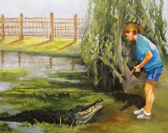 Big Al Alligator,oils canvas,landscape Barbara, Haviland,  reptile