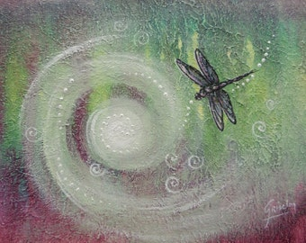 Dragonfly kisses, Dragonfly totem,  Original painting by Griselda Tello