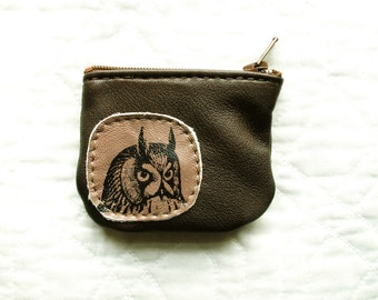 SALE Wee Owl Coin Purse Leather Recycled