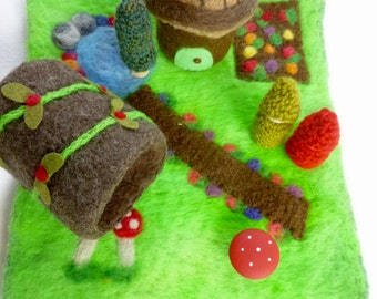 Play mat set with Mini Felted acorn Gnome Cottage and wool log ready to ship