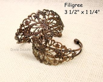 5 antiqued copper filigree cuff bracelets, vintage style bracelet, copper bracelet, filigree cuff, bridal jewelry, assemblage base
