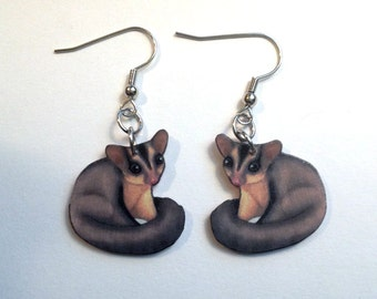 Handcrafted Plastic Sugarglider Earrings Dangle Hook, Leverback, Clipon, Stud
