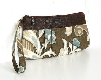 Pleated Wristlet, Small Clutch Purse, Zipper Wristlet Clutch - Vintage Garden Floral in Aqua, Cream and Nut Brown