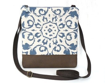 Crossbody Bag, Small Cross Body Purse, Zipper Hip Purse - Amelie Medallion in Brown, Cream and Denim Blue
