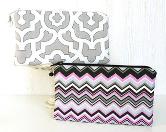 Pair of Pouches - Set of 2 Small Zipper Pouches, Zip Coin Purses, Fabric Zip Bags in Gray, White, Black and Pink