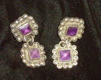 Sterling Silver Dangle Amethyst Purple Earrings Pierced Vintage FINAL SALE