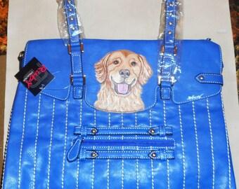 Golden Retriever Dog  Hand Painted Leather Handbag Totebag Purse
