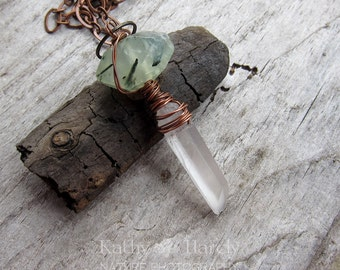 Crystal and Prehnite Wire-Wrapped Long Necklace || Personal Healing Stone Jewelry | Earthy | Organic | Natural Stones | Boho | Hippie | Zen