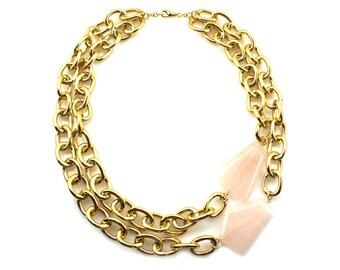 Rose Quartz Necklace, Pink Statement Necklace, Multi Strand Necklace, Rose Quartz Jewelry, Double Strand Necklace, Rose Quartz Jewelry