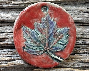 Handmade Pendant Maple Leaf on Red Background, Multiple shades of blue, Ceramic