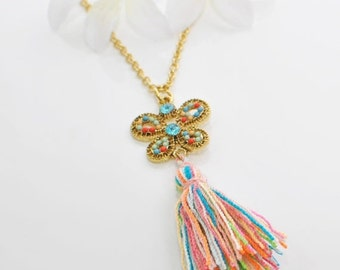 Butterfly Tassel Necklace Rainbow Dancer-  Boho Chic Butterfly - Tassel Pendant Butterfly Jewelry - Bohemian Necklace - Butterfly Pendant