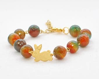 Bunny Bracelet Rabbit Jewelry Tessa -Golden Bunny Jewelry Rabbit Bracelet -Bunny Beaded Bracelet -Pet Bunny Rabbit Inspired -Woodland Animal