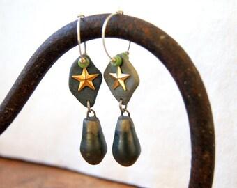 Beach Stone Hoop Earrings Artisan Drop Earrings Star Earrings Boho Jewelry Bohemian Jewelry Boho Chic - One of a Kind OOAK