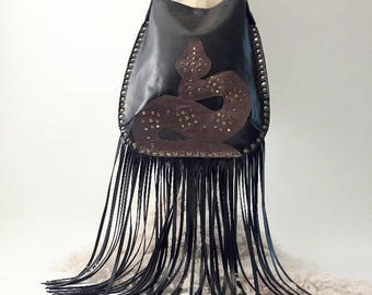 Black and Brown Crossbody Bag with Studded Snake