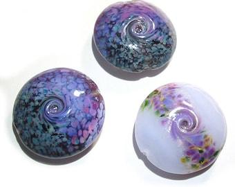Handmade Glass Lampwork Beads, Purple Mix  Jumbo Lentils