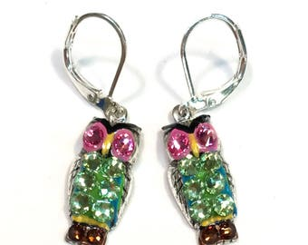 Owl Earrings Fun Hand Painted and Crystal Accents