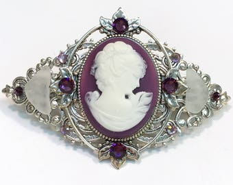 Cameo Hair Barrette Purple and White Profile with Beach Glass and Crystal Accents